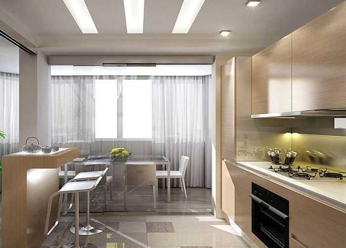 Дизайн кухни объединенной с балконом - советы по интерьеру (.