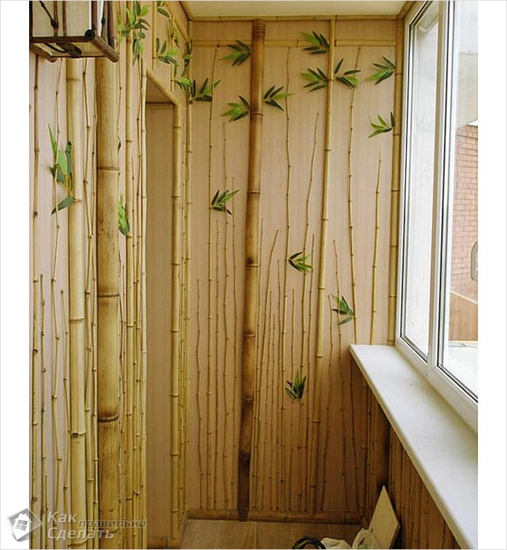 Внутрення отделка балкона и лоджии бамбуком своими руками....