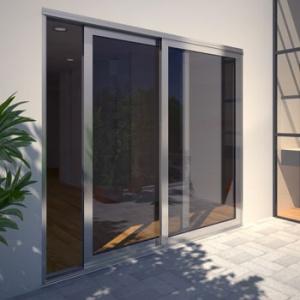 Серые алюминиевые двери