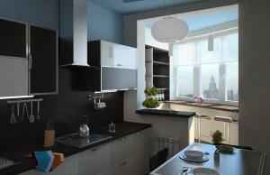 квадратная кухня в стиле High-Tech