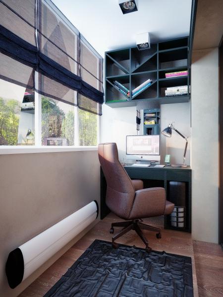 балкон переделанный в кабинет фото