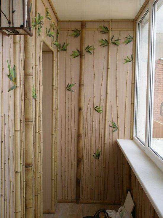 отделка балконов бамбуком фото