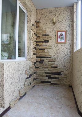 Отделка балконов камнем внутри фото отделка балкона кирпичом