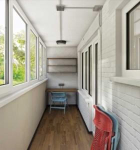белый балкон в стиле лофт