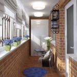 балкон с кирпичной кладкой