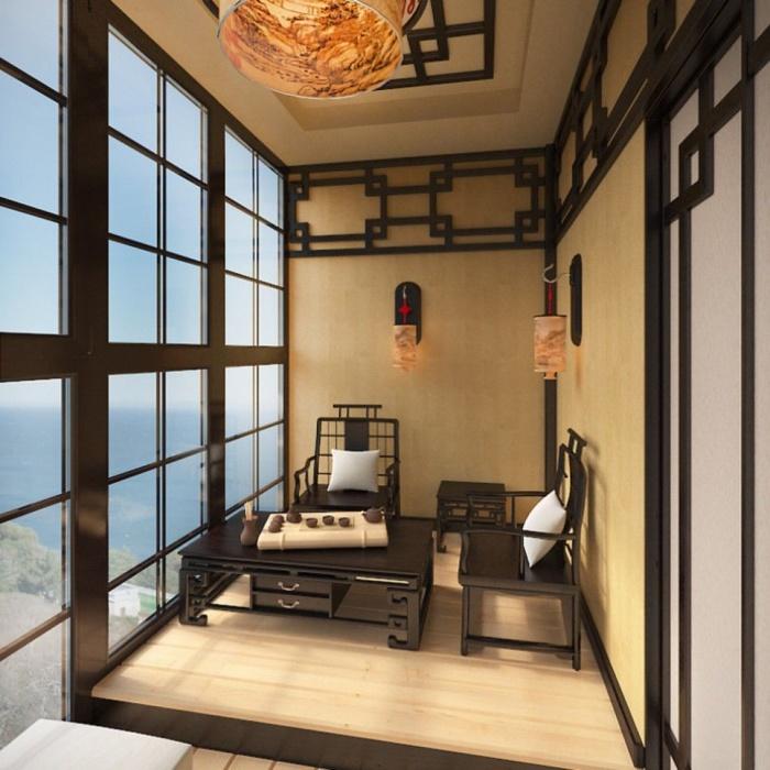 оформление балкона в стиле японии