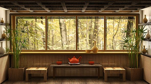 дизайн балкона в японском стиле